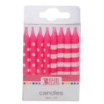 Stripes & Dots Candles - Pink