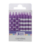 Stripes & Dots Candles - Purple