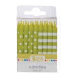 Stripes & Dots Candles - Lime THUMBNAIL