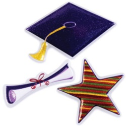 Grad Hat Cake Top Decoration - 3 pc.
