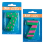 #7 Stripes/Dots Number Candle