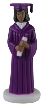 Female Graduate - Purple Robe - African American THUMBNAIL