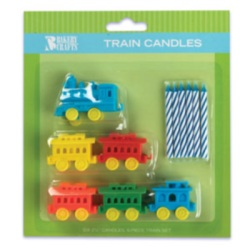 Train Candle Holders w/Candles LARGE