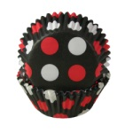 Standard Baking Cups - Black w/Red Dots