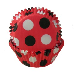 Standard Baking Cups - Red w/Black Dots LARGE