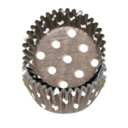 Mini Baking Cups - Polka Dot - Brown LARGE