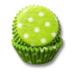 Mini Baking Cups - Polka Dots - Lime Green
