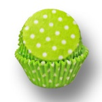 Standard Baking Cups - Polka Dots - Lime Green THUMBNAIL