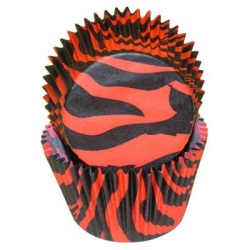 Standard Baking Cups - Zebra Stripe - Black/Red LARGE