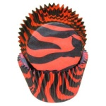 Standard Baking Cups - Zebra Stripe - Black/Red THUMBNAIL