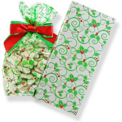 Clear Bags - 1 lb. Holly Swirl