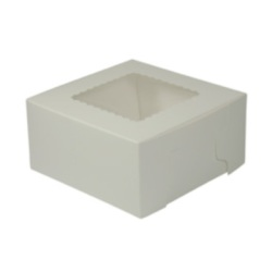 White Bakery Box w/Window - 7""