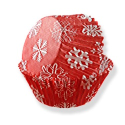 Standard Baking Cups - Red Snowflake