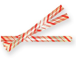 Twist Ties - Candy Cane Stripe LARGE