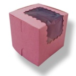 Single Cupcake Box w/Window - Pink