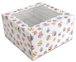 Cupcake Box w/Window - Cupcake Print