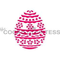 Cookie Countess Stencil - Easter Egg Flowers_LARGE