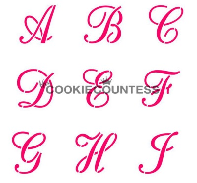 Cookie Countess Stencil - Script Alphabet