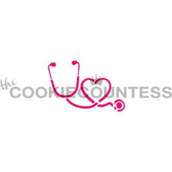 Cookie Countess Stencil - Stethoscope & Heart