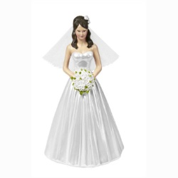 Wilton Wedding Cake Topper Figure - Classic Bride With Floral Headpiece