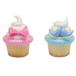 Bow and Mustache Cupcake Rings