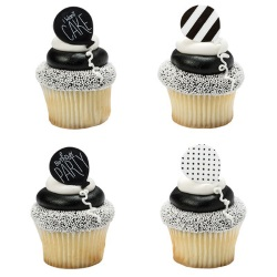 Black & White Birthday Rings LARGE