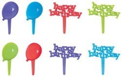 Happy Birthday and Balloons Picks LARGE