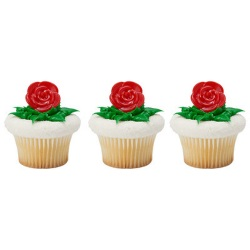 Red Rose Cupcake Rings LARGE