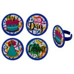 Graffiti Birthday Cupcake Rings