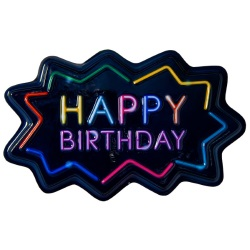 Neon Happy Birthday Cake Top Decoration LARGE