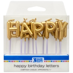 Gold Happy Birthday Candles LARGE