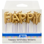 Gold Happy Birthday Candles THUMBNAIL