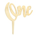 Gold One Candle Holder Cake Topper