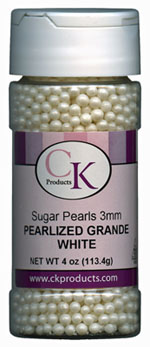Sugar Pearls - Pearlized White 3mm THUMBNAIL