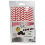Cake Pop Stick - Red Chevron THUMBNAIL