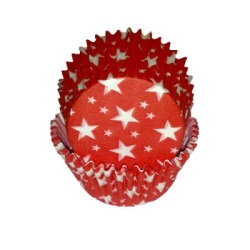 Standard Baking Cups - Red w/White Stars LARGE