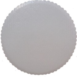 "White Foil Scalloped Circle - 10"" LARGE"