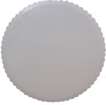 White Foil Scalloped Circle - 10""