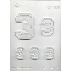 "Collegiate Number ""3"" Chocolate Mold_LARGE"
