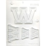 "Collegiate Letter ""W"" Chocolate Mold THUMBNAIL"