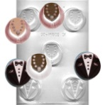 Cookie Mold Chocolate Mold - Tux and Dress THUMBNAIL
