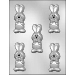 "Bunny w/Bow Chocolate Mold - 3-1/2""_LARGE"