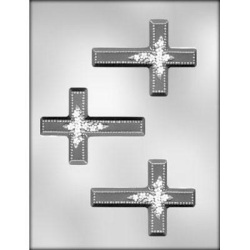 "Cross w/Flower Chocolate Mold - 4"" LARGE"