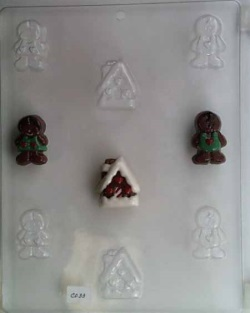 Gingerbread People & House Chocolate Mold LARGE