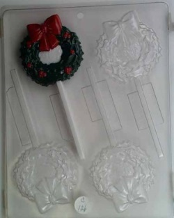 Christmas Wreath w / Bow Chocolate Sucker Mold LARGE