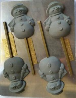 Medium Size Snowman w/Carrot Nose Chocolate Sucker Mold THUMBNAIL