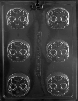 Decorative Skull Chocolate Cookie Mold LARGE
