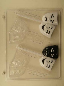 Comedy / Tragedy Mask Chocolate Sucker Mold LARGE