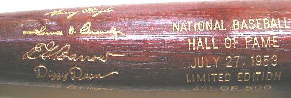 1953 Hall of Fame  Induction Bat MAIN