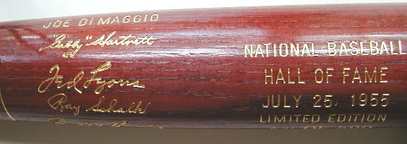 1955 Hall of Fame Induction Bat MAIN